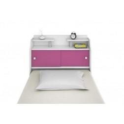 Cabeceira Box Solteiro Elisa Branco ou Branco/Rosa