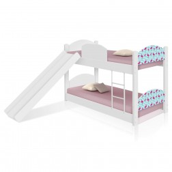 Beliche Infantil Flamingo com Escorregador e Colchões