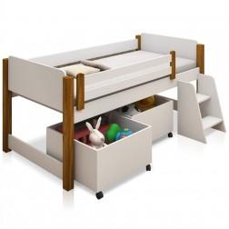 Cama Infantil Alta Mary com Nichos para Brinquedos