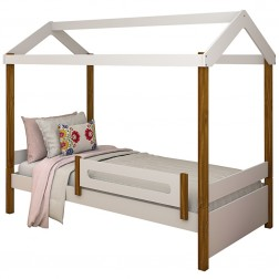 Cama Montessori Cabana Solteiro Branco e Mel com Colchão