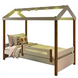 Cama Montessori Fio de Luz Cabana Branco Mel com Colchão