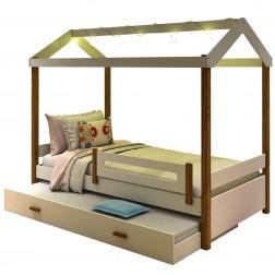 Cama Montessori Cabana com Fio de Luz e Auxiliar Branco Mel
