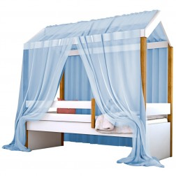 Cama Montessori Cabana Solteiro com Colchão e Dossel Azul