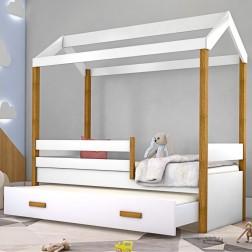 Cama Montessori Cabana com Auxiliar e Colchão