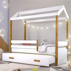 Cama Montessori Cabana com Auxiliar Cordão LED e Colchão