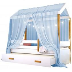 Cama Montessori Cabana com Auxiliar Cordão LED e Dossel Azul