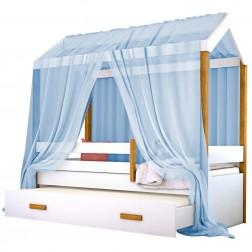 Cama Montessori Cabana com Auxiliar Solteiro e Dossel Azul