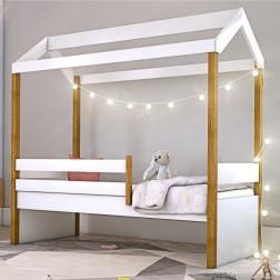 Cama Montessori Cabana Solteiro com Cordão LED