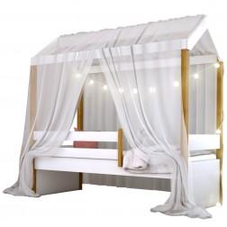 Cama Montessori Cabana com Cordão LED e Dossel Branco