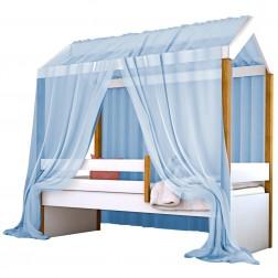Cama Montessori Cabana Solterio com Dossel Azul