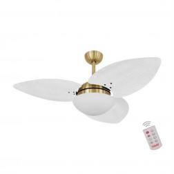 Ventilador de Teto Kovalski Dourado 3 Pás Palmae Branco 127V com Controle