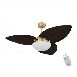 Ventilador de Teto Kovalski Dourado 3 Pás Palmae Tabaco 220V com Controle