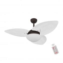 Ventilador de Teto Kovalski Marrom Texturizado 3 Pás Palmae Branco 127V com Controle