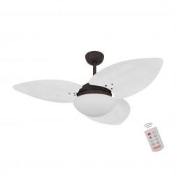 Ventilador de Teto Kovalski Marrom Texturizado 3 Pás Palmae Branco 2207V com Controle