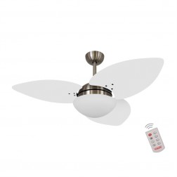 Ventilador de Teto Kovalski Bronze 3 Pás Branco 127V com Controle
