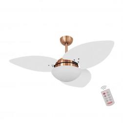 Ventilador de Teto Kovalski Cobre 3 Pás Branco 220V com Controle