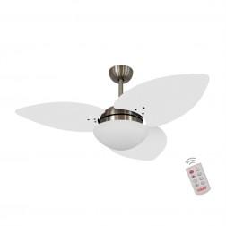 Ventilador de Teto Kovalski Bronze 3 Pás Branco 220V com Controle