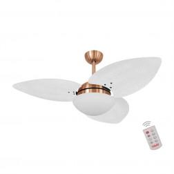 Ventilador de Teto Kovalski Cobre 3 Pás Palmae Branco 220V com Controle