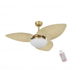 Ventilador de Teto Kovalski Dourado 3 Pás Palmae Natural 127V com Controle