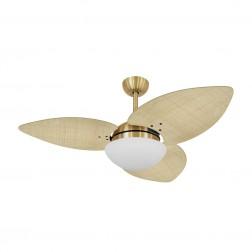 Ventilador de Teto Kovalski Dourado 3 Pás Palmae Natural 220V