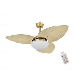 Ventilador de Teto Kovalski Dourado 3 Pás Palmae Natural 220V com Controle
