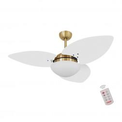 Ventilador de Teto Kovalski Dourado 3 Pás Branco 220V com Controle